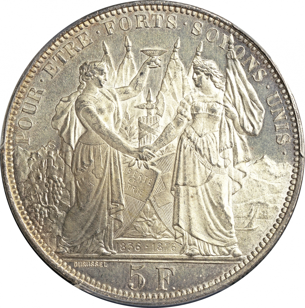 スイス 5フラン銀貨 射撃祭記念 ローザンヌ 1876年 PCGS(MS64) 発行数 ...