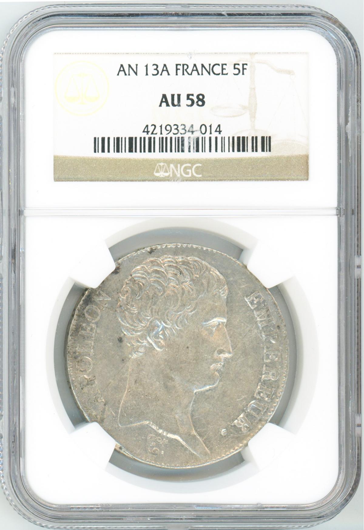 フランス 5フラン銀貨 ナポレオン第一執政(無冠) 1804年(AN13I)