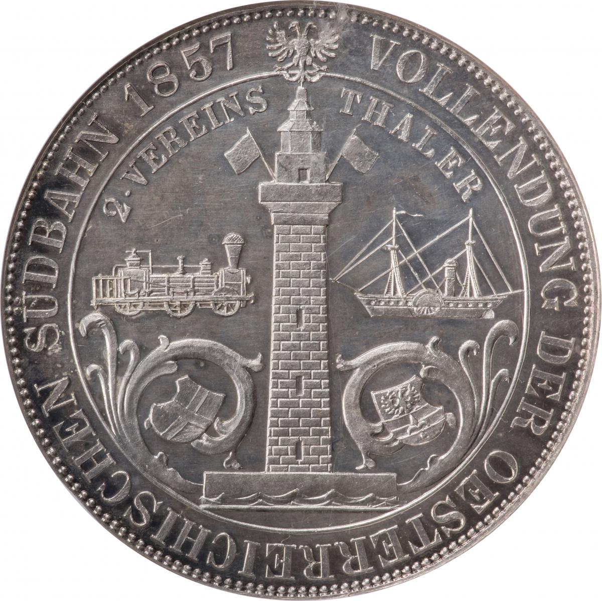 オーストリア ウィーン・トリエステ 南部鉄道開通記念 2テーラー銀貨 ...