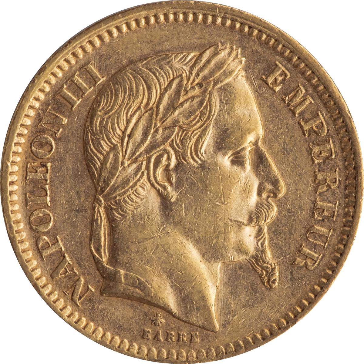 フランス ナポレオン3世(有冠) 20フラン金貨 1865年A KM801.1