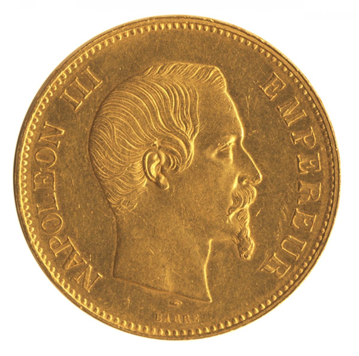 フランス 100フラン金貨 ナポレオン3世(無冠) 1857年A